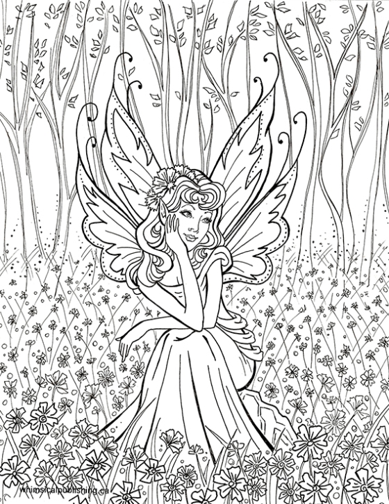 contemplative fairy - Hard Coloring Pages