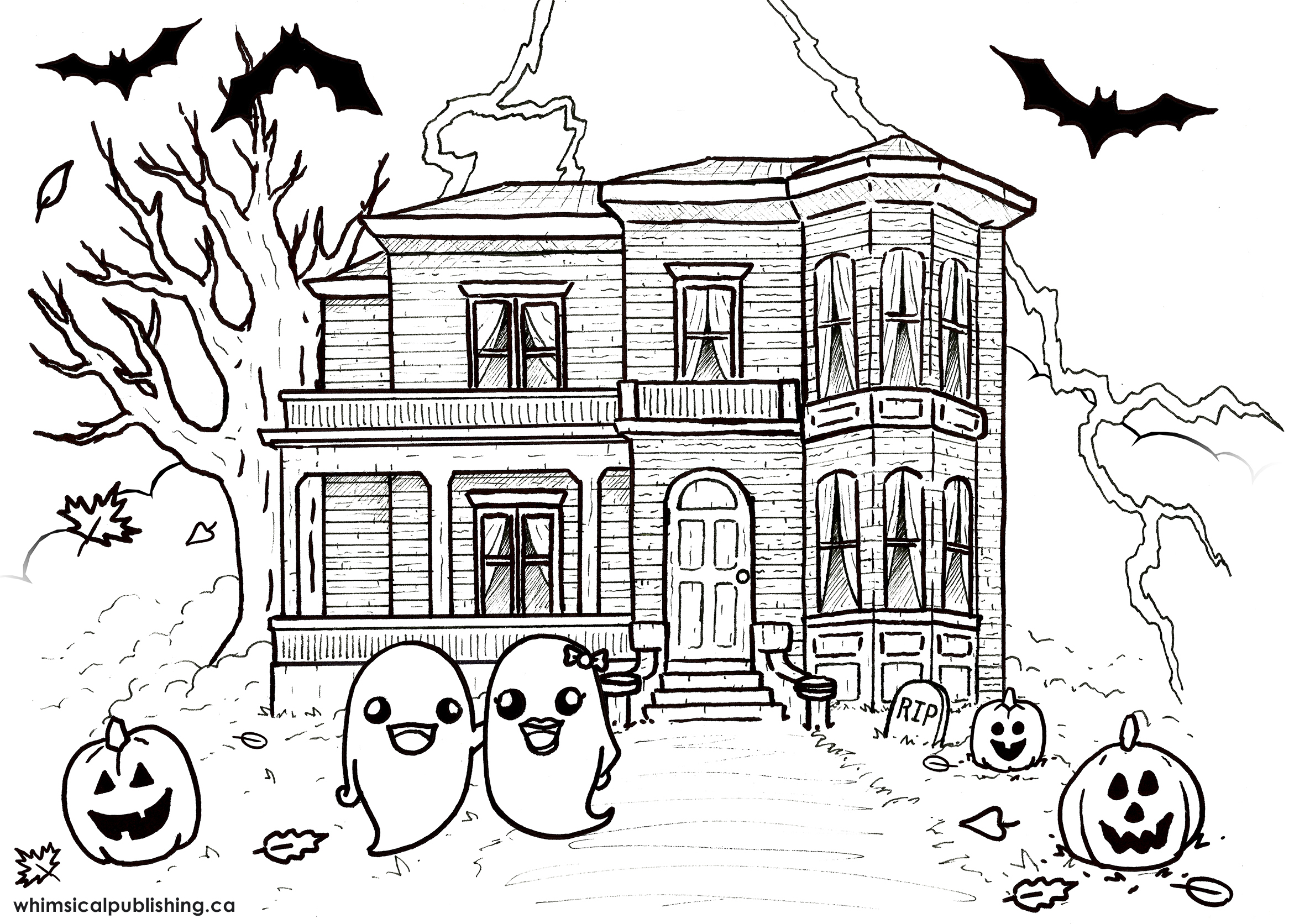 Haunted house pictures to colour
