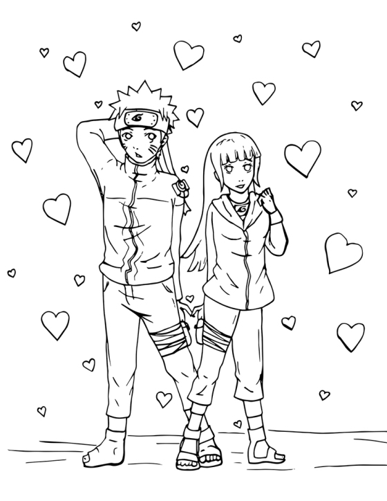 Naruto and hinata valentine s day colouring page for Naruto manga color pages