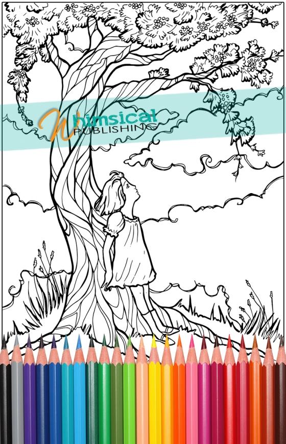 Girl&TreeColouringPage